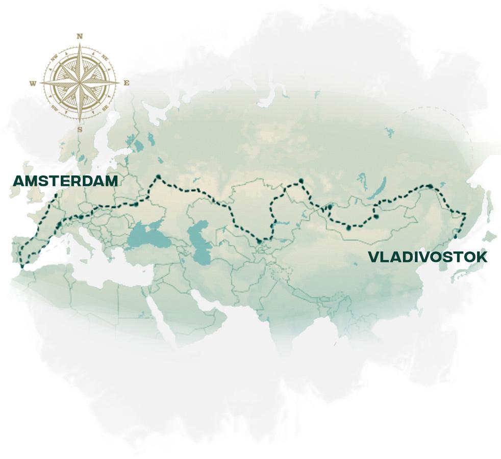 De route die Lex en Andras volgen. © Team Expedition Vladivostok